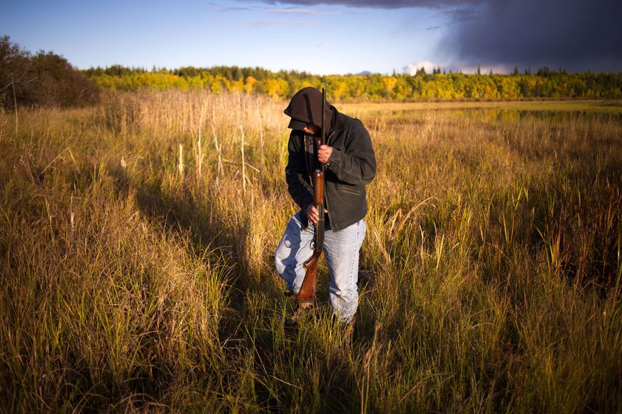 Joey Fraser hunts for ducks at the Métis territory of Big Point, near Fort Chipewyan, Alberta. ...