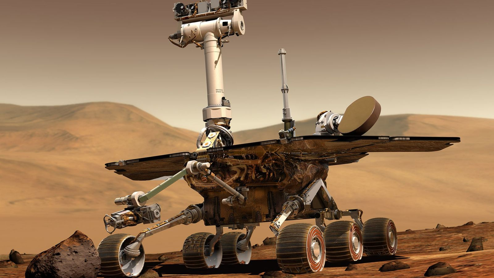 A NASA Mars Exploration Rover sits on the surface of Mars in an illustration. Twin versions ...