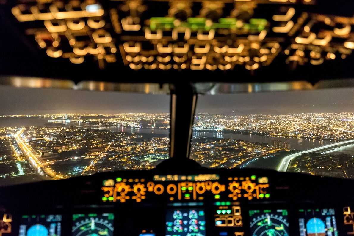 """I'm sitting in the observer's seat of an A319, enjoying a smooth colorful approach into Guayaquil ..."