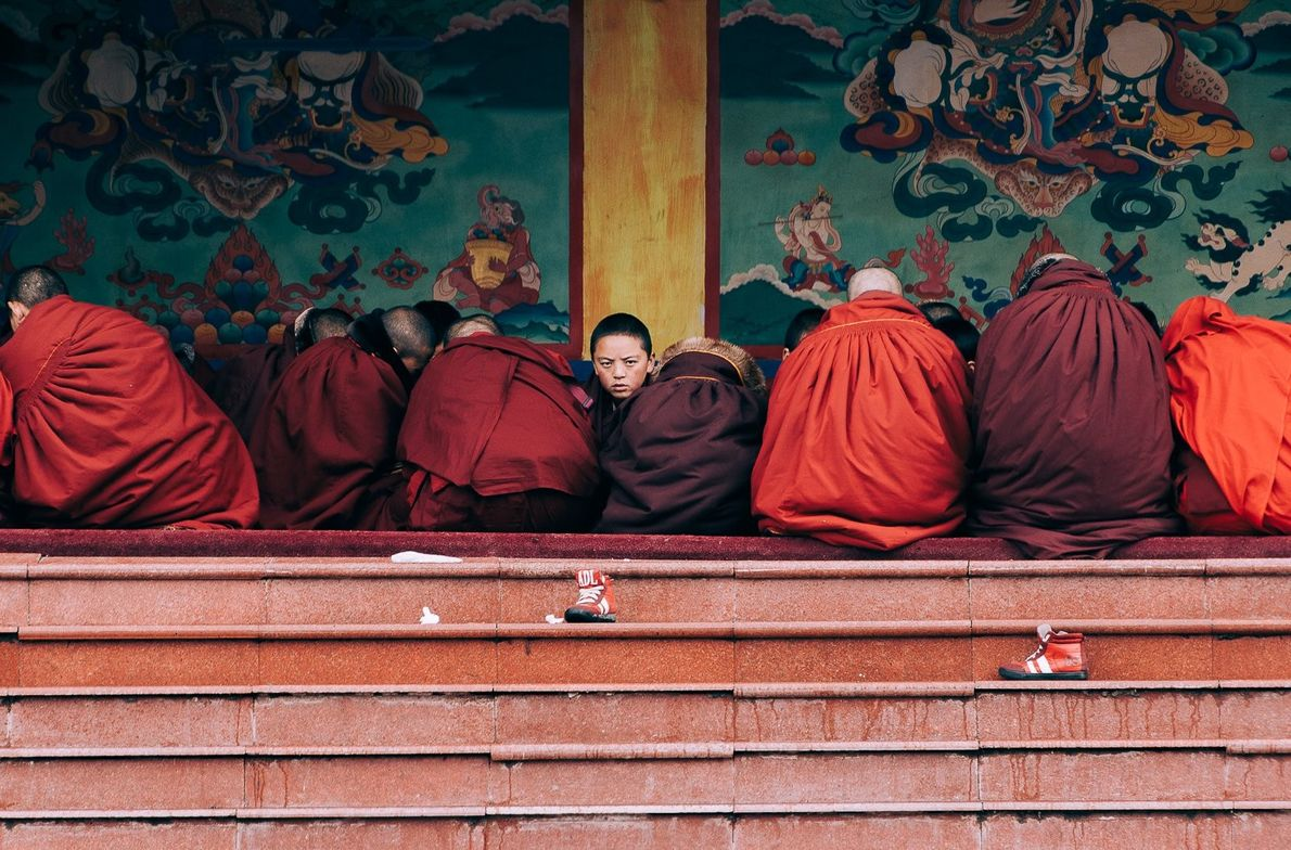 """A group of young Buddhist novice monks studying near the main temple, in Sertar, China,"" writes ..."