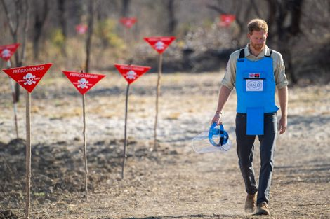 In September, Prince Harry walked through a recently cleared minefield in Dirico, Angola, following his mother's footsteps in the push for eradication of mines.
