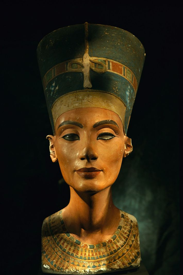 This bust of Egyptian Queen Nefertiti was made before she commanded that no more images be ...