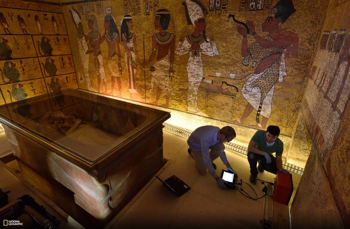 In a second radar scan in Tut's tomb in 2016, National Geographic technicians Eric Berkenpas and ...