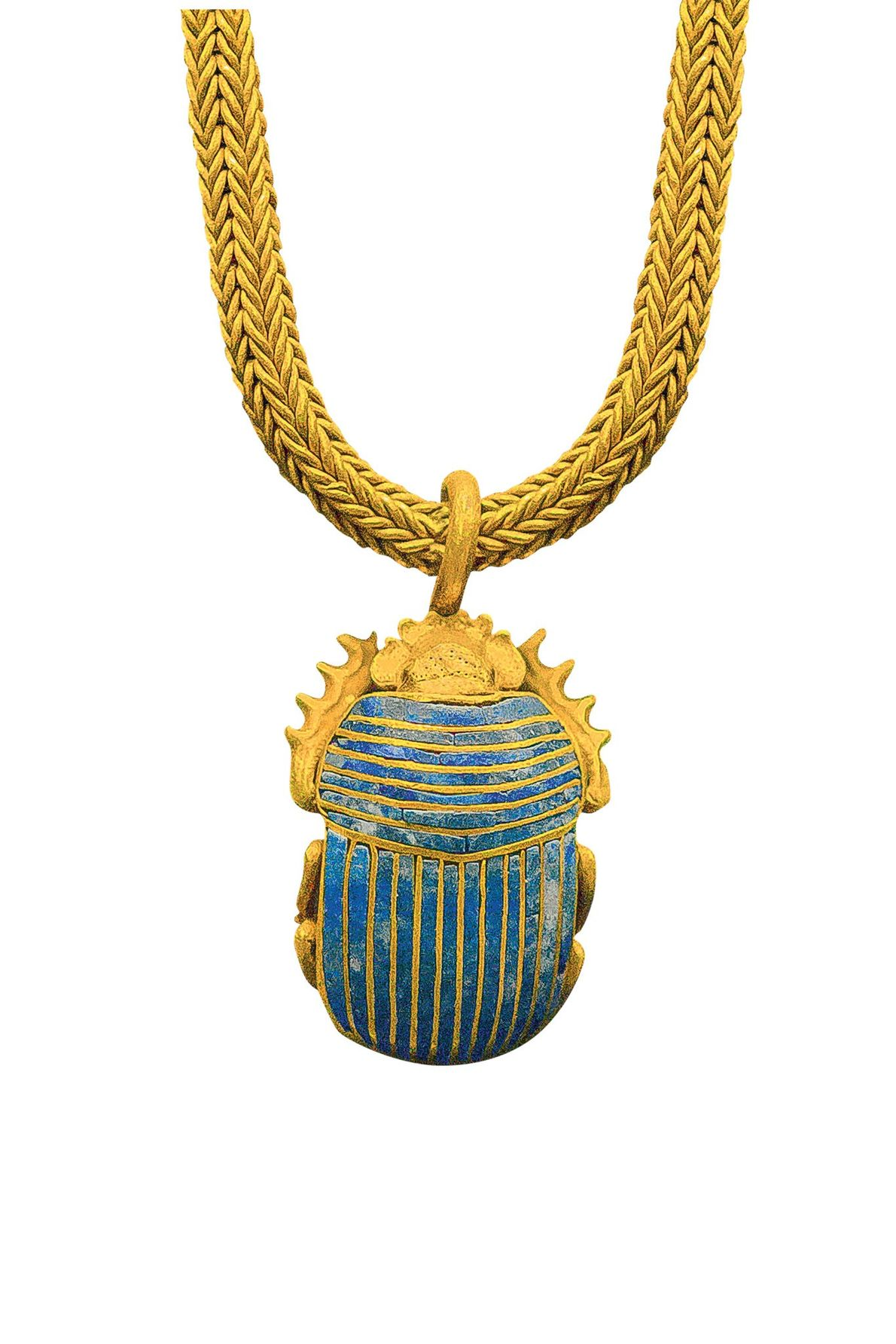 Suspended from a chain, this gold and lapis lazuli scarab is a symbol of rebirth in ...