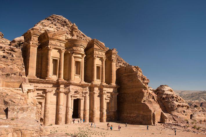 "With an elaborate facade towering more than 150 feet above the desert, Petra's mountaintop ""Monastery"" was ..."