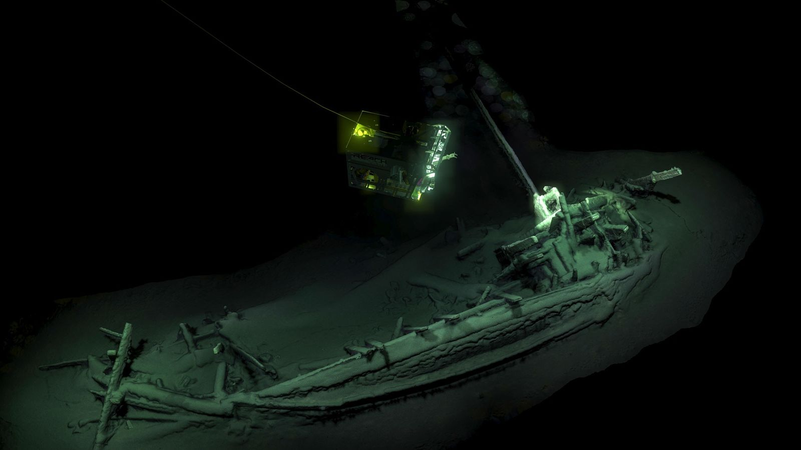 A Remote Operated Vehicle (ROV) captures images of the 2,400-year-old merchant ship, which rests some 1.2 ...