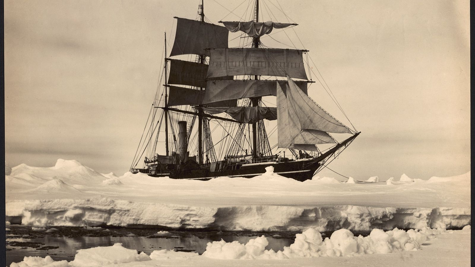 Polar explorer Robert Falcon Scott's ship Terra Nova is moored amid pack ice in Antarctica in ...
