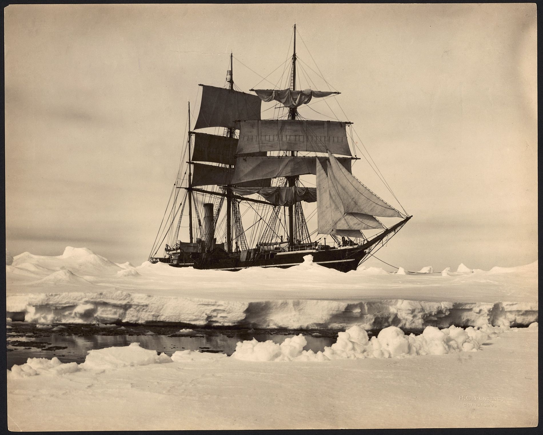 Polar explorer Robert Falcon Scott's ship Terra Nova is moored amid pack ice in Antarctica in the early 1900s.
