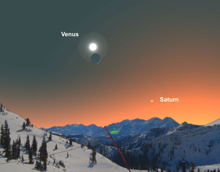 Catch Venus perched near the crescent moon on December 28.