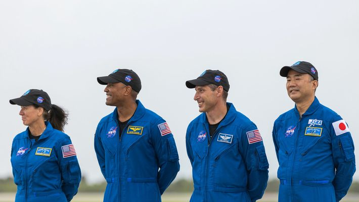 The crew arrives at NASA's Kennedy Space Center on November 8, 2020, comprised of NASA astronauts ...