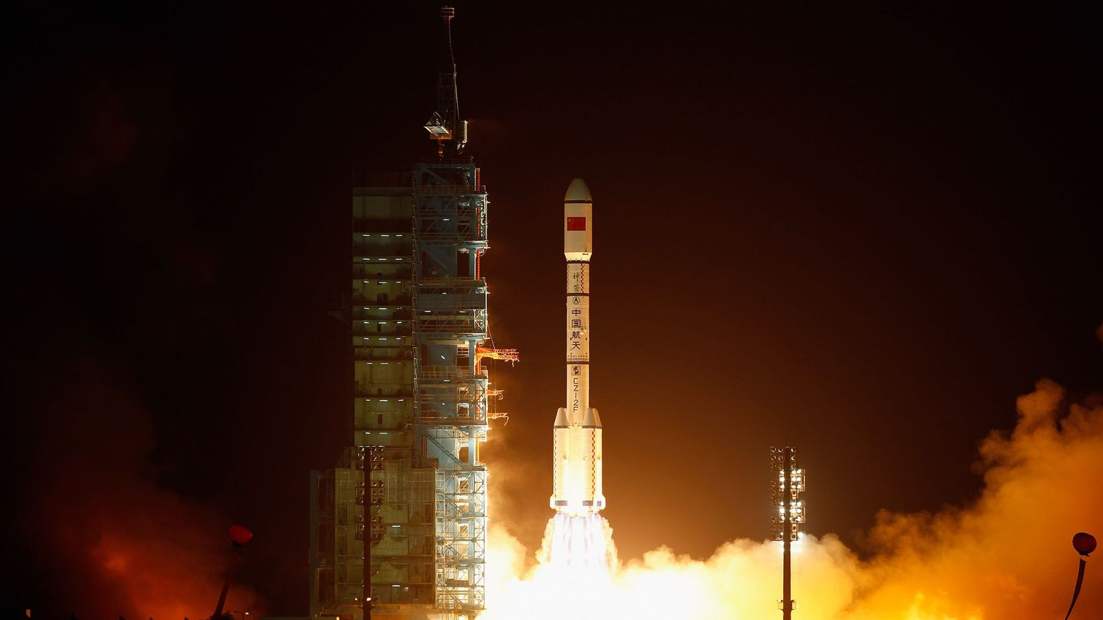 A rocket carrying the Tiangong-1 lifted off from the Jiuquan Satellite Launch Center on September 29, ...
