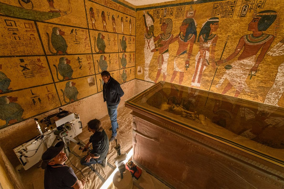 Tut's sarcophagus almost fills his burial chamber, which was unusually small for a pharaoh—leading some to ...