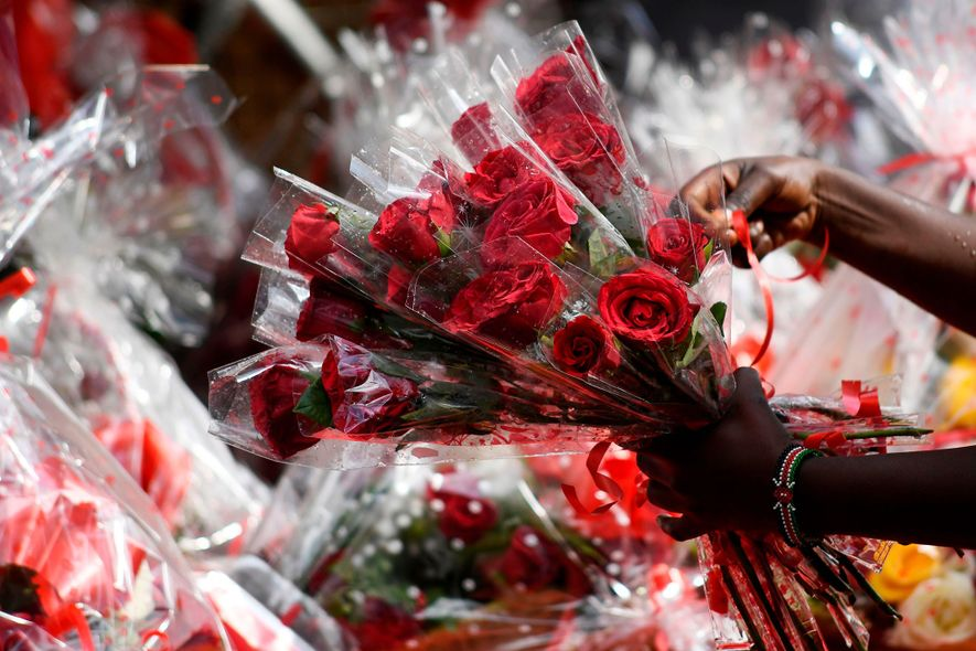 Bouquets of roses are sold on Valentine's Day in a flower shop in Nairobi, Kenya.