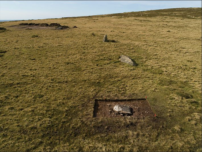The arc of former standing stones at Waun Mawn in Wales seen during trial excavations in ...
