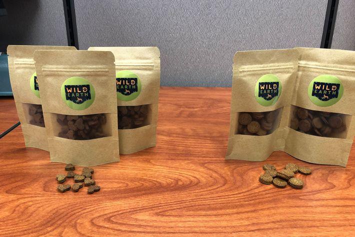 Bags of Wild Earth pet treats.