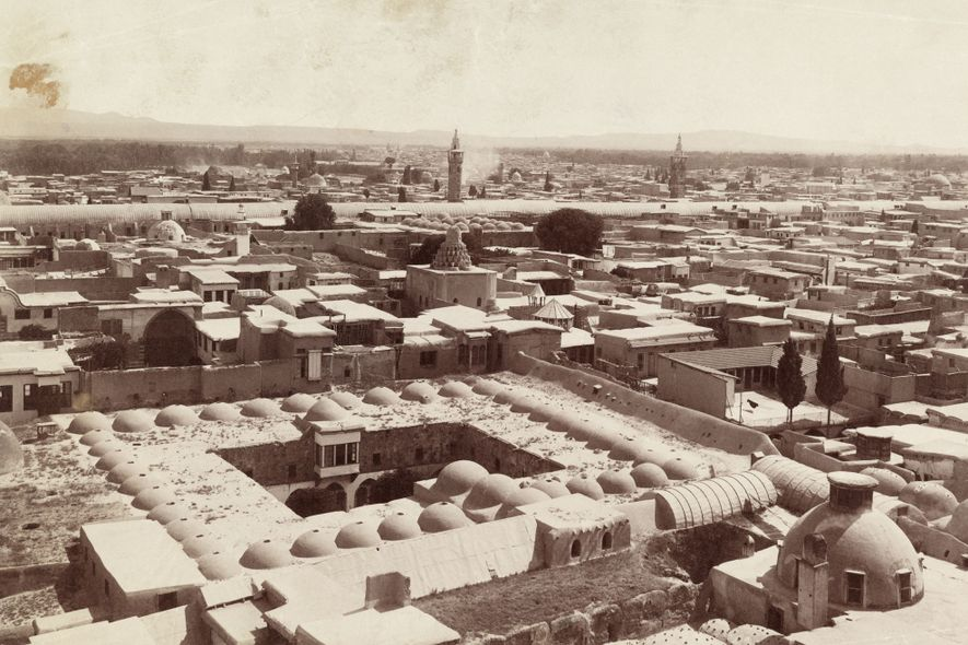 Damascus, seen here in 1911, was first settled in the third millennium B.C. and today is ...