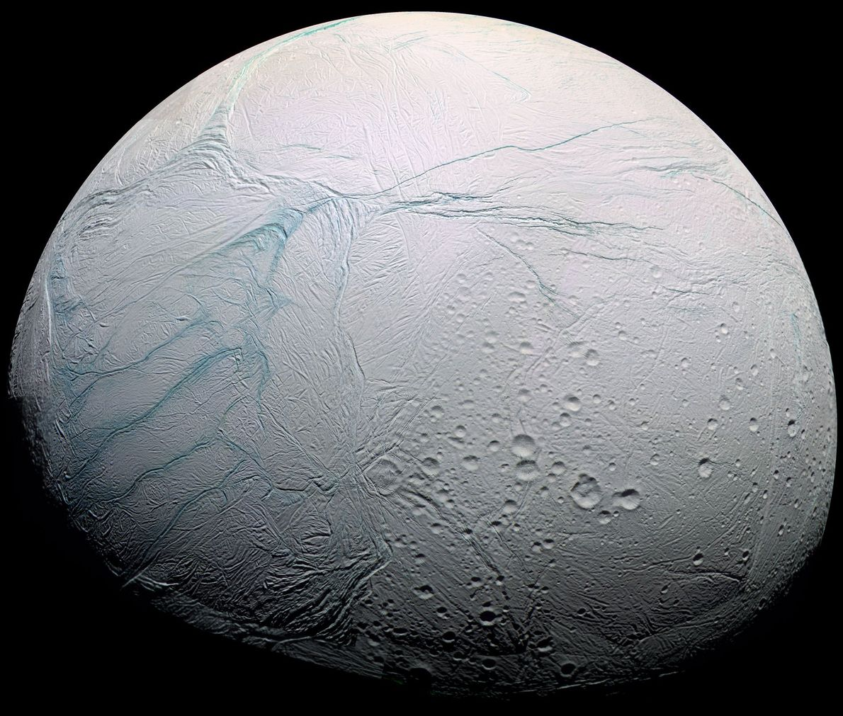 Saturn's icy moon Enceladus, one of the most promising locations in the search for a place ...