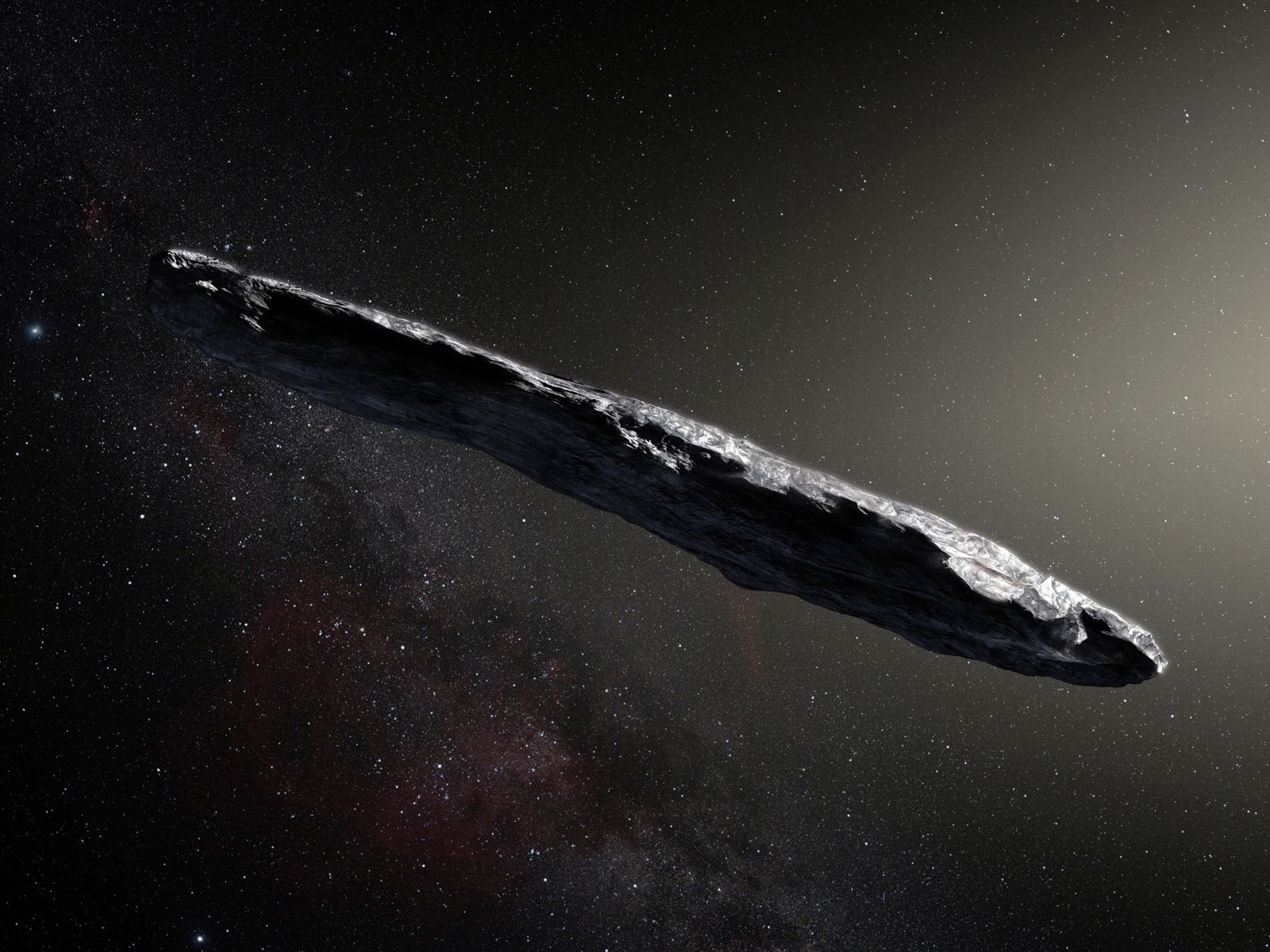 This artist's impression shows the first interstellar object known to pass through the solar system: 'Oumuamua. ...