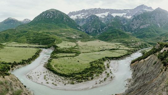 The Vjosa River near the border between Albania and Greece.