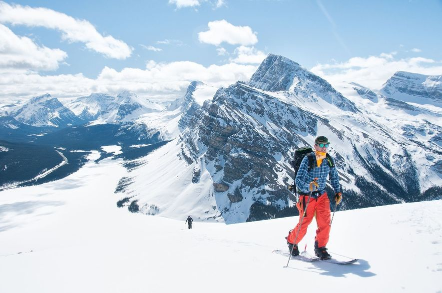 My brother, Daniel, ski-tours up an outlier of Mount Jimmy Simpson along the Icefields Parkway in ...