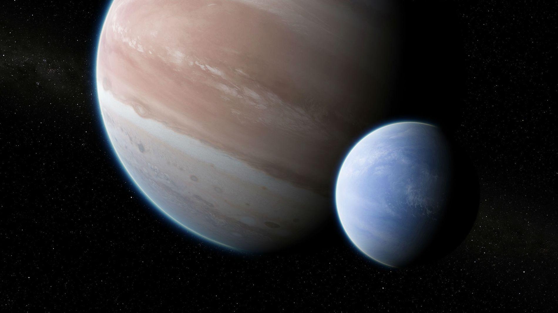 A large moon orbits the Jupiter-size planet Kepler 1625b in an illustration.