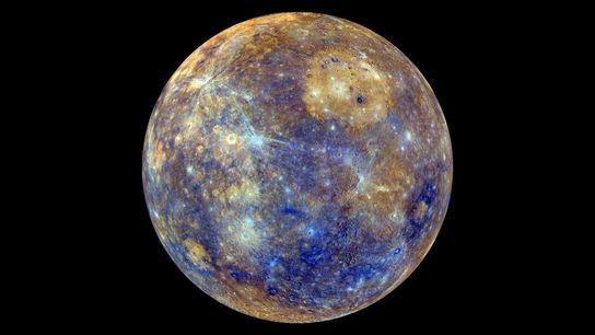 This colourful view of Mercury was produced using images from NASA's MESSENGER spacecraft, which orbited the ...