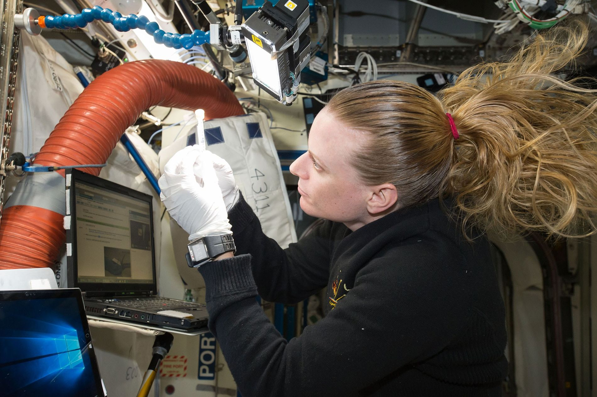 NASA Astronaut Kate Rubins works on the Biomolecule Sequencer experiment aboard the International Space Station. A ...