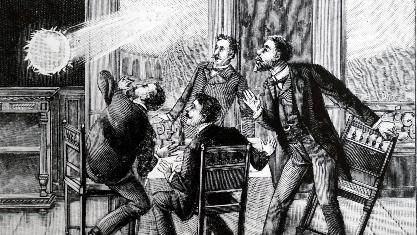 This French illustration shows ball lightning entering a room through a window, a phenomenon that's been ...