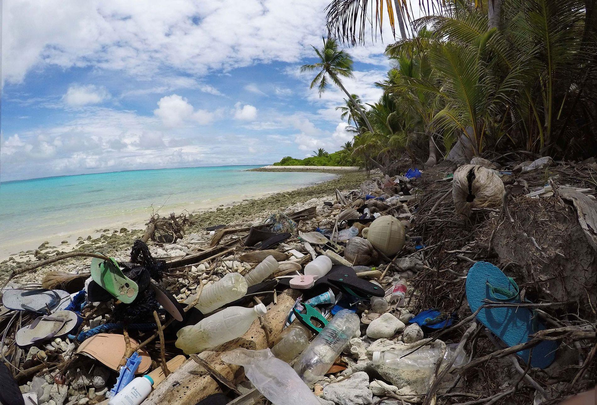 Plastic debris clogs the north side of Direction Island, in Australia.