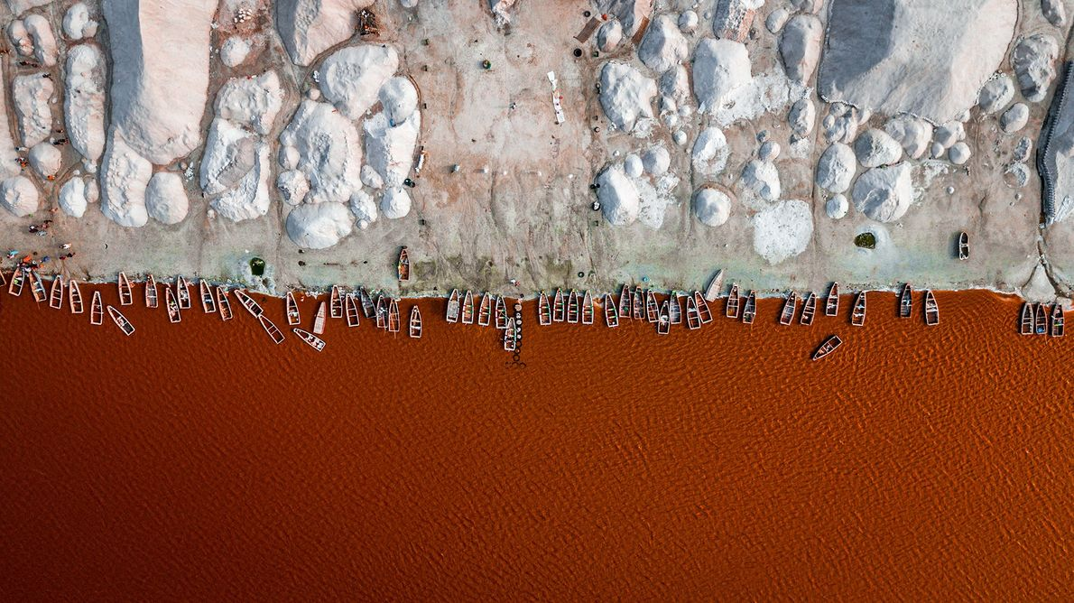 Northeast of Dakar, Senegal, algae turns Lake Retba's salty waters red. The area is under consideration ...