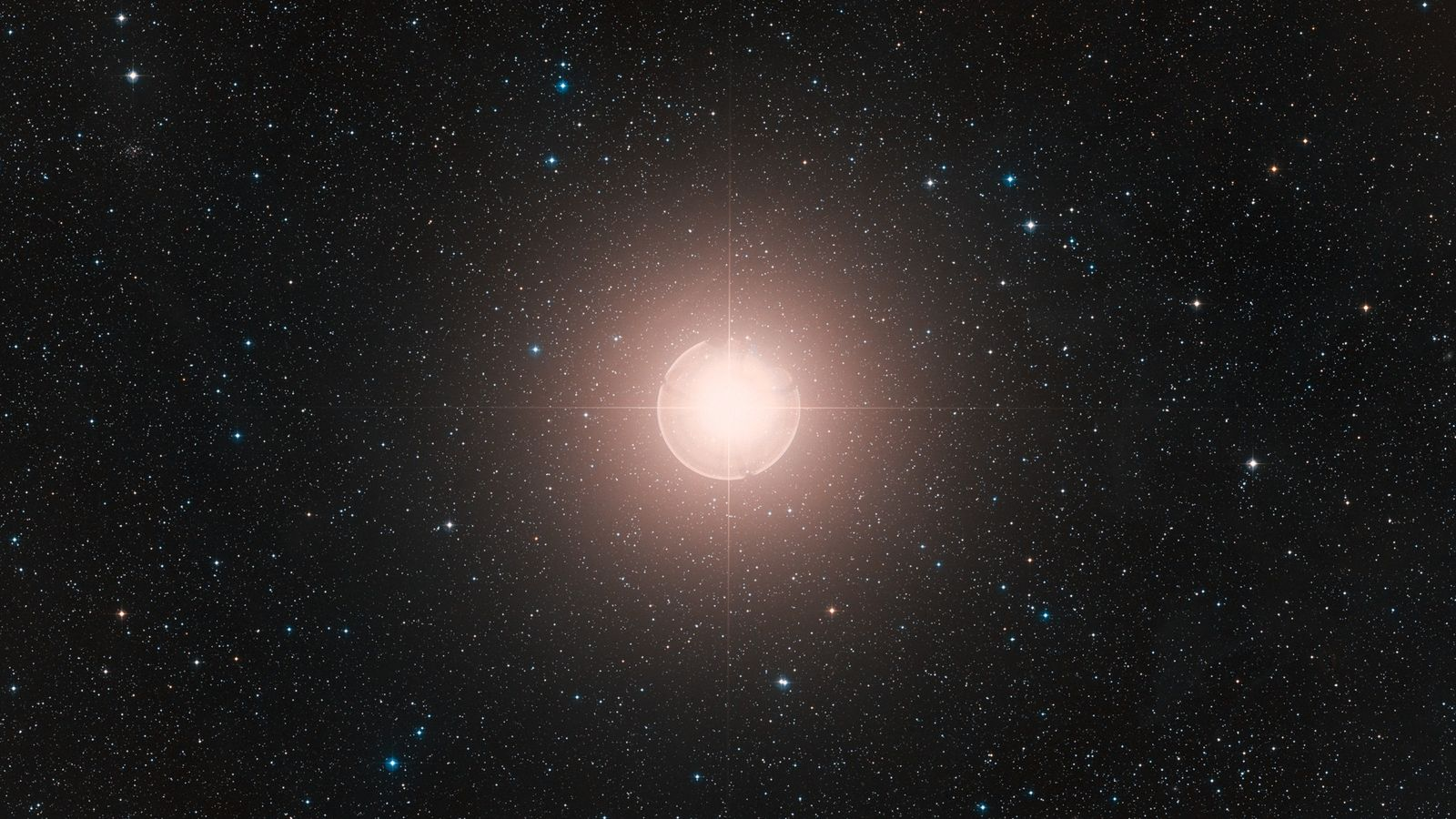 This image of Betelgeuse, one of the brightest stars in the sky, is a colour composite ...