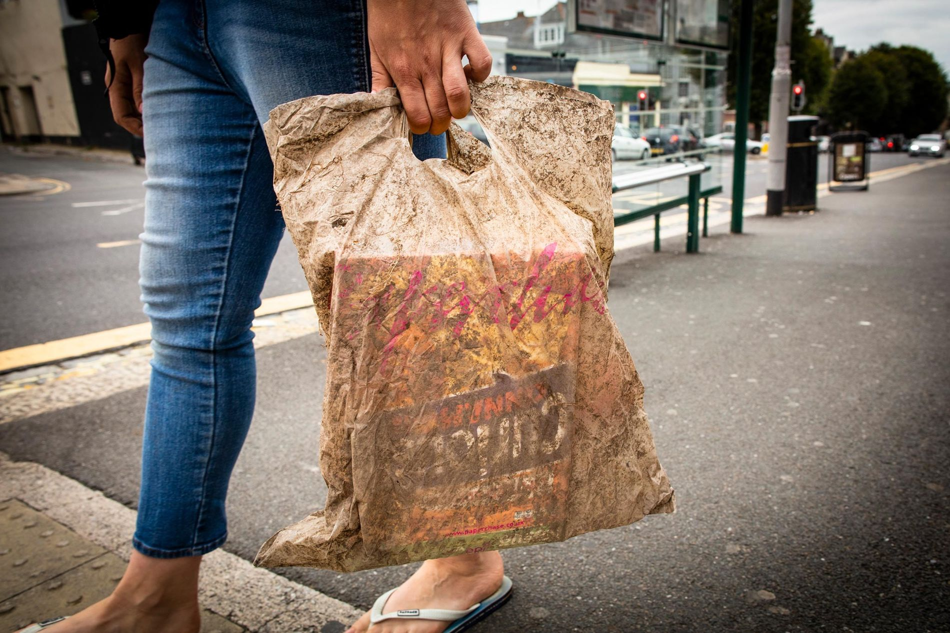 A plastic shopping bag buried in soil for three years could still hold a full load of groceries.