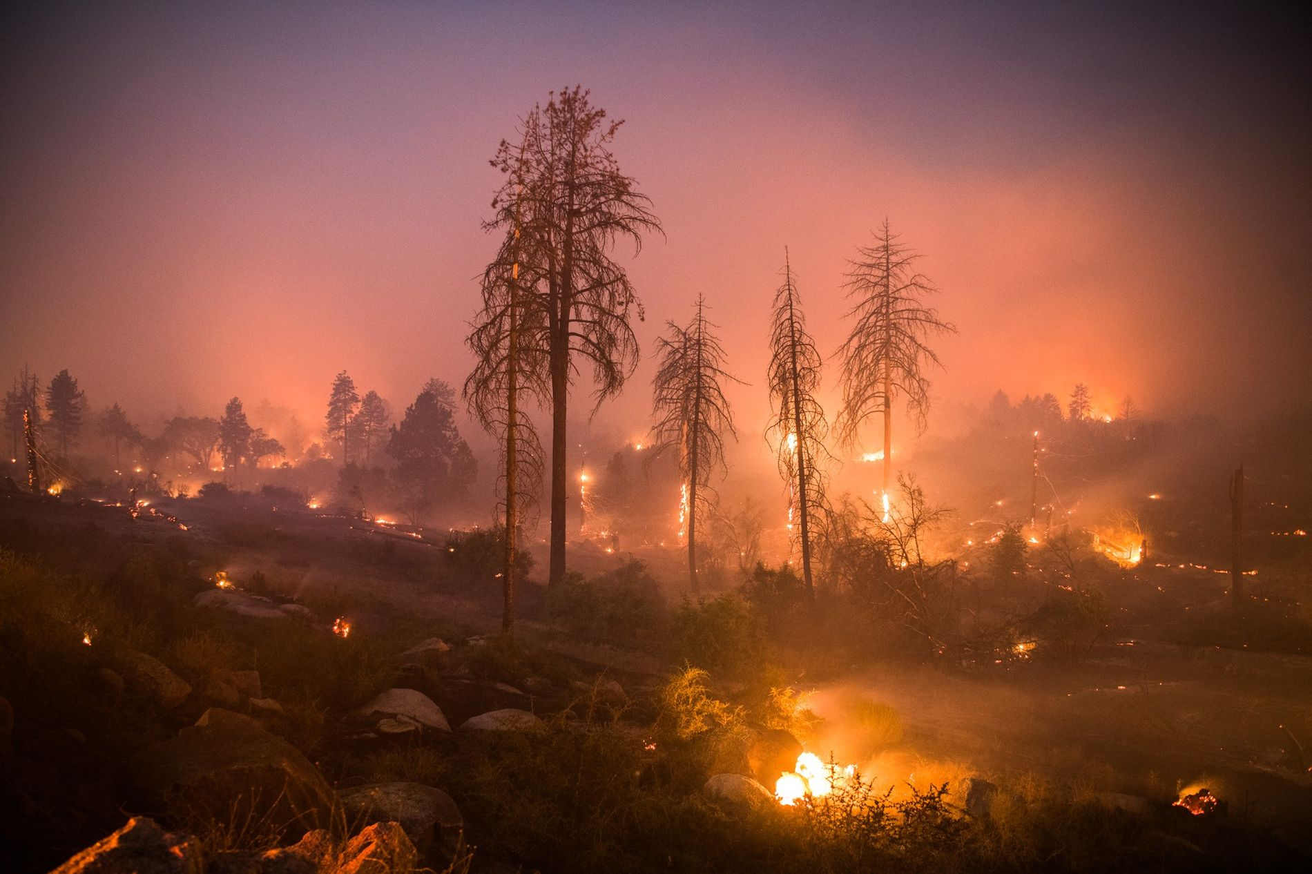 A long exposure shows the Cranston Fire burning on July 25 near Idyllwild, California. The blaze spread quickly, engulfing and destroying houses and buildings before firefighters could contain it.