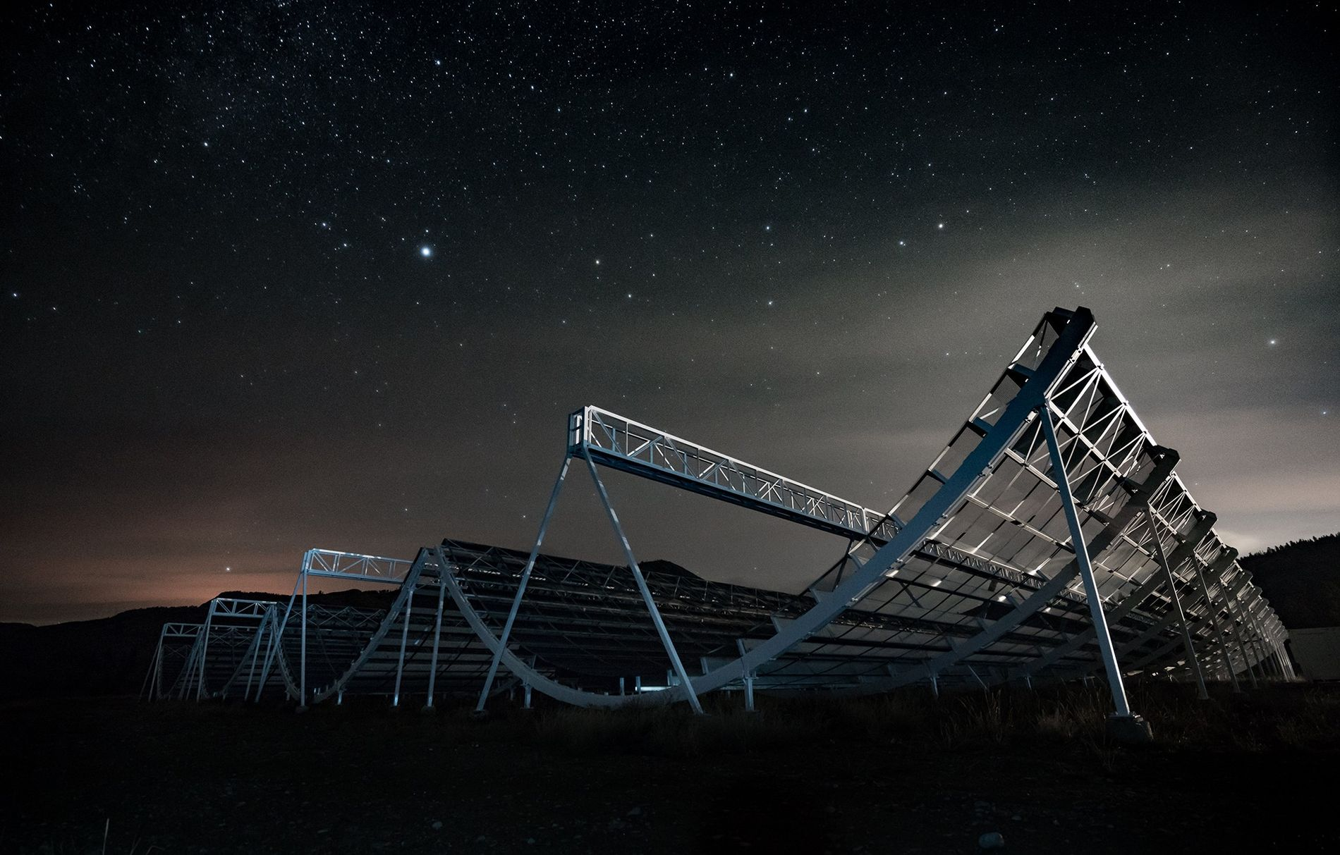 Stars hang over the Canadian Hydrogen Intensity Mapping Experiment, or CHIME, at the Dominion Radio Astrophysical ...