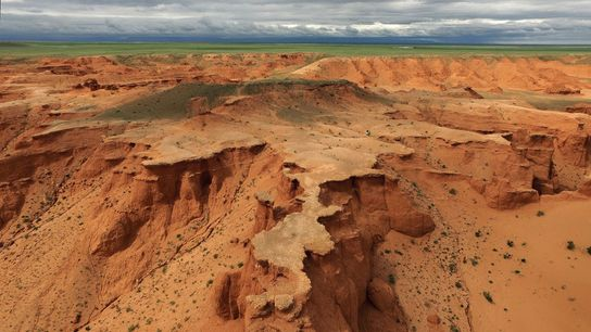 This aerial picture shows the Flaming Cliffs in the Gobi Desert. Roy Chapman Andrews, who could ...