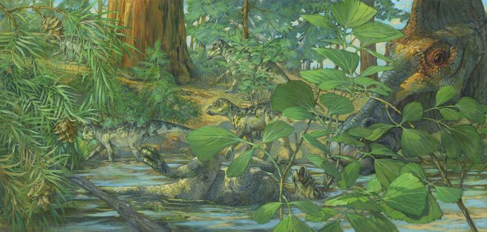 Reconstruction of the nesting ground of Hypacrosaurus stebingeri from the Two Medicine formation of Montana. In ...
