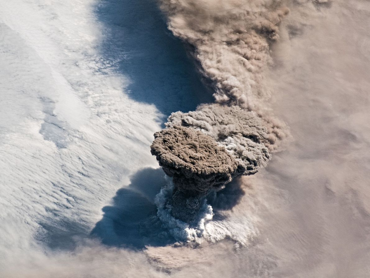 On June 22, 2019, the Raikokoe volcano erupted, shooting up a towering column of gasses and ...