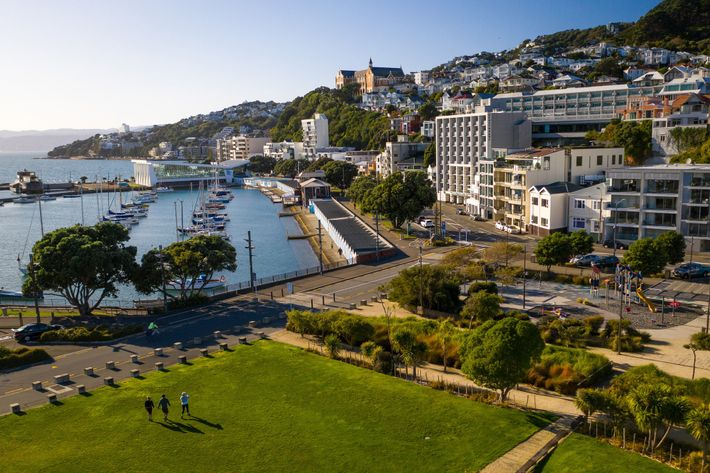 A clear day for a stroll through Waitangi Park overlooking Oriental Bay in Wellington, New Zealand's ...