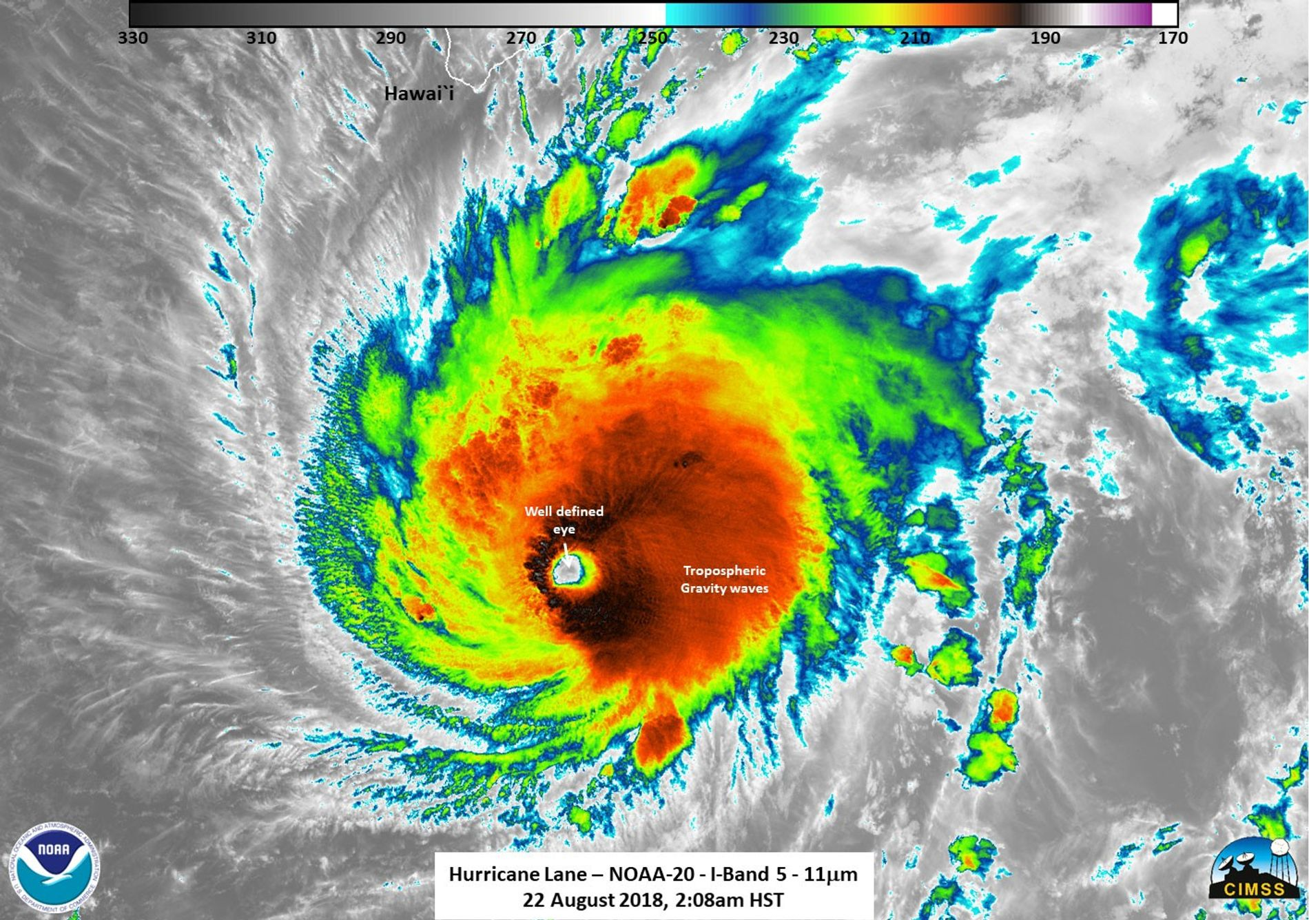 A satellite view of Hurricane Lane.