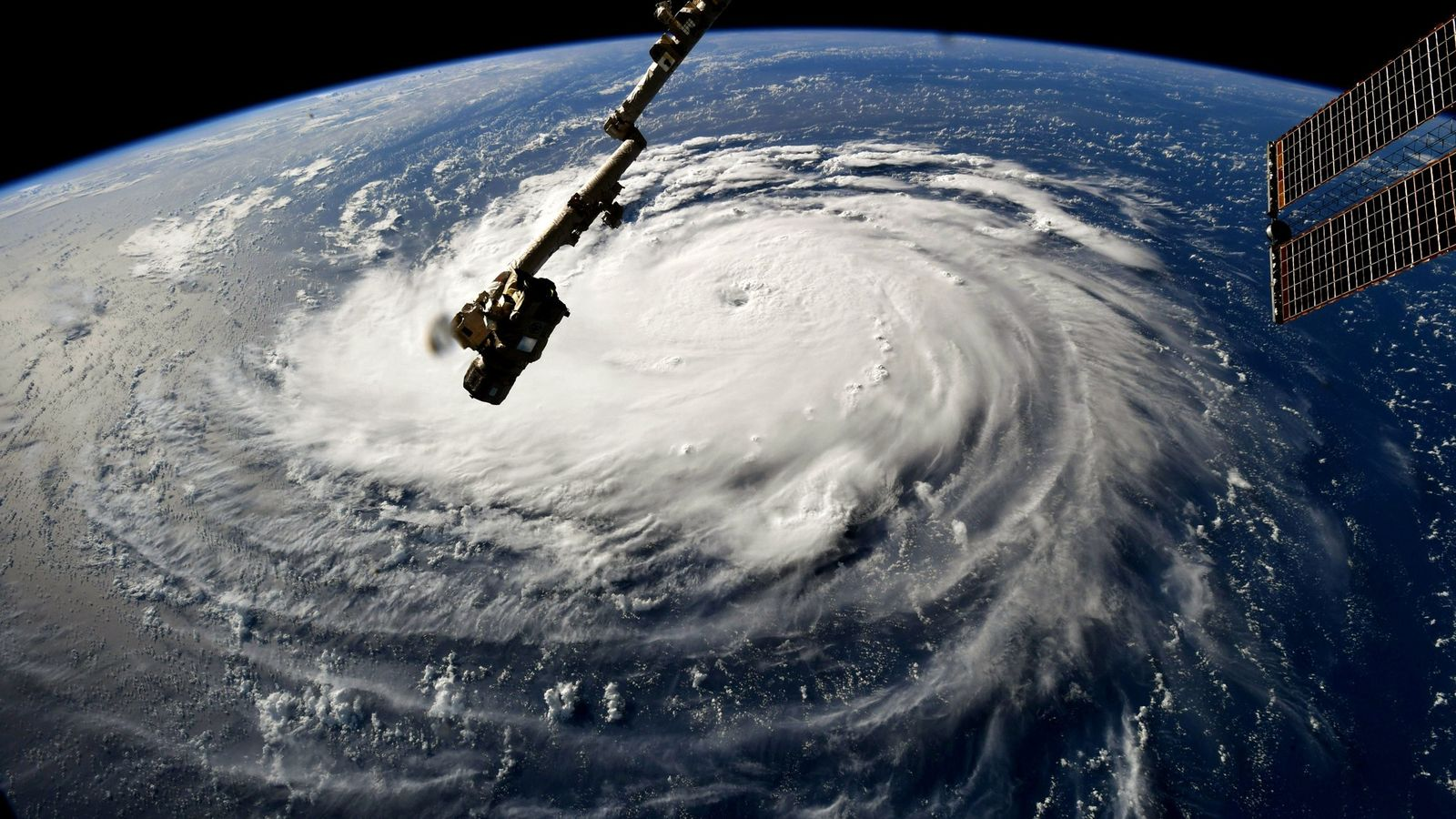 In this image taken by the International Space Station on 10th September, 2018, Hurricane Florence gains ...