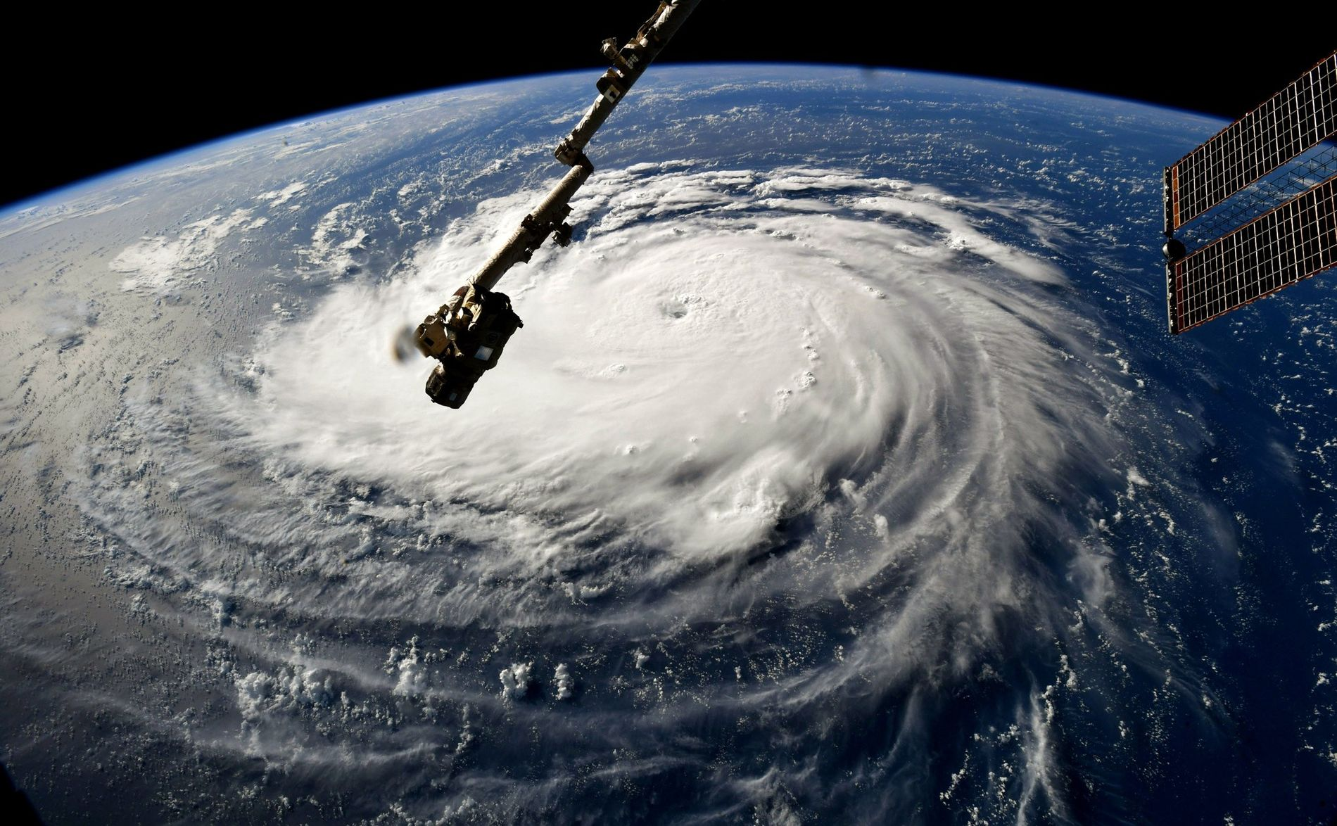 In this image taken by the International Space Station on 10th September, 2018, Hurricane Florence gains strength in the Atlantic Ocean as it moves west.