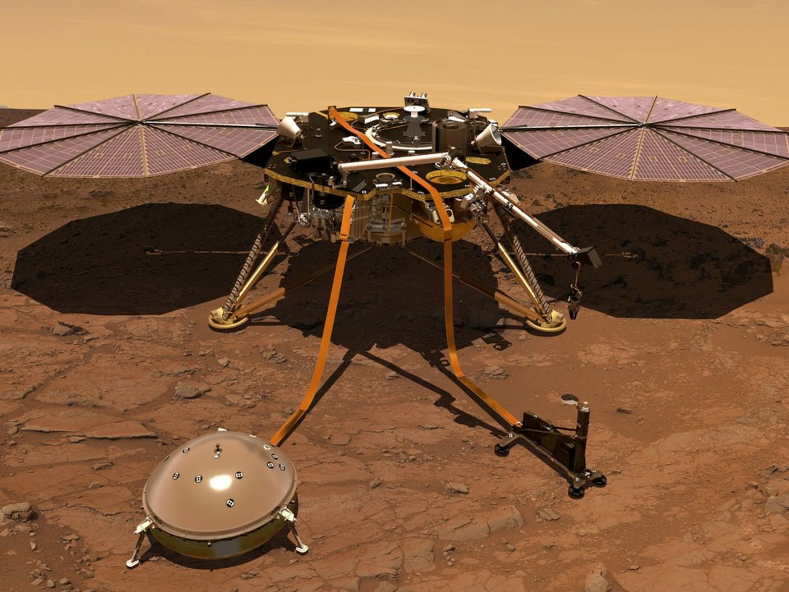 The InSight lander sits on the Martian surface in an illustration. Preliminary data from the lander's ...