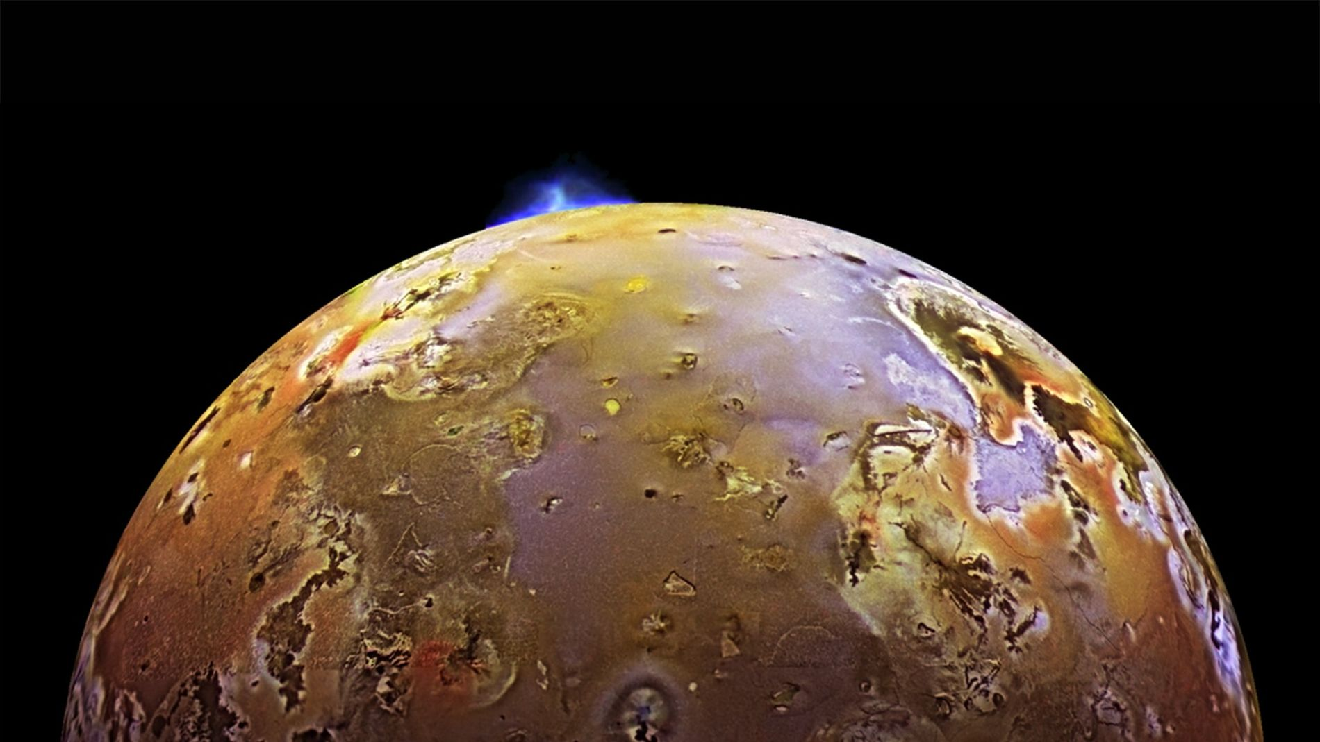 A volcanic plume erupts from the surface of Io, Jupiter's third largest moon and the most ...