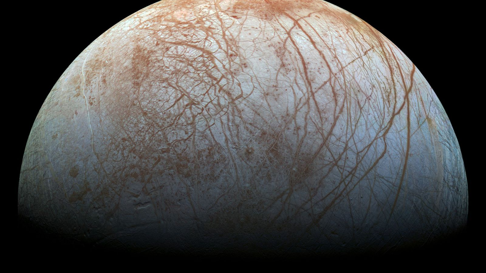 Jupiter's fourth-largest moon Europa has a global ocean that is approximately 40 to 100 miles deep ...