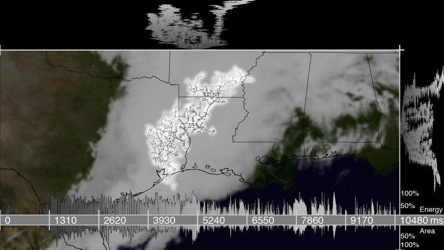 This map shows the largest lightning flash spotted in the satellite data. Its footprint extended across ...
