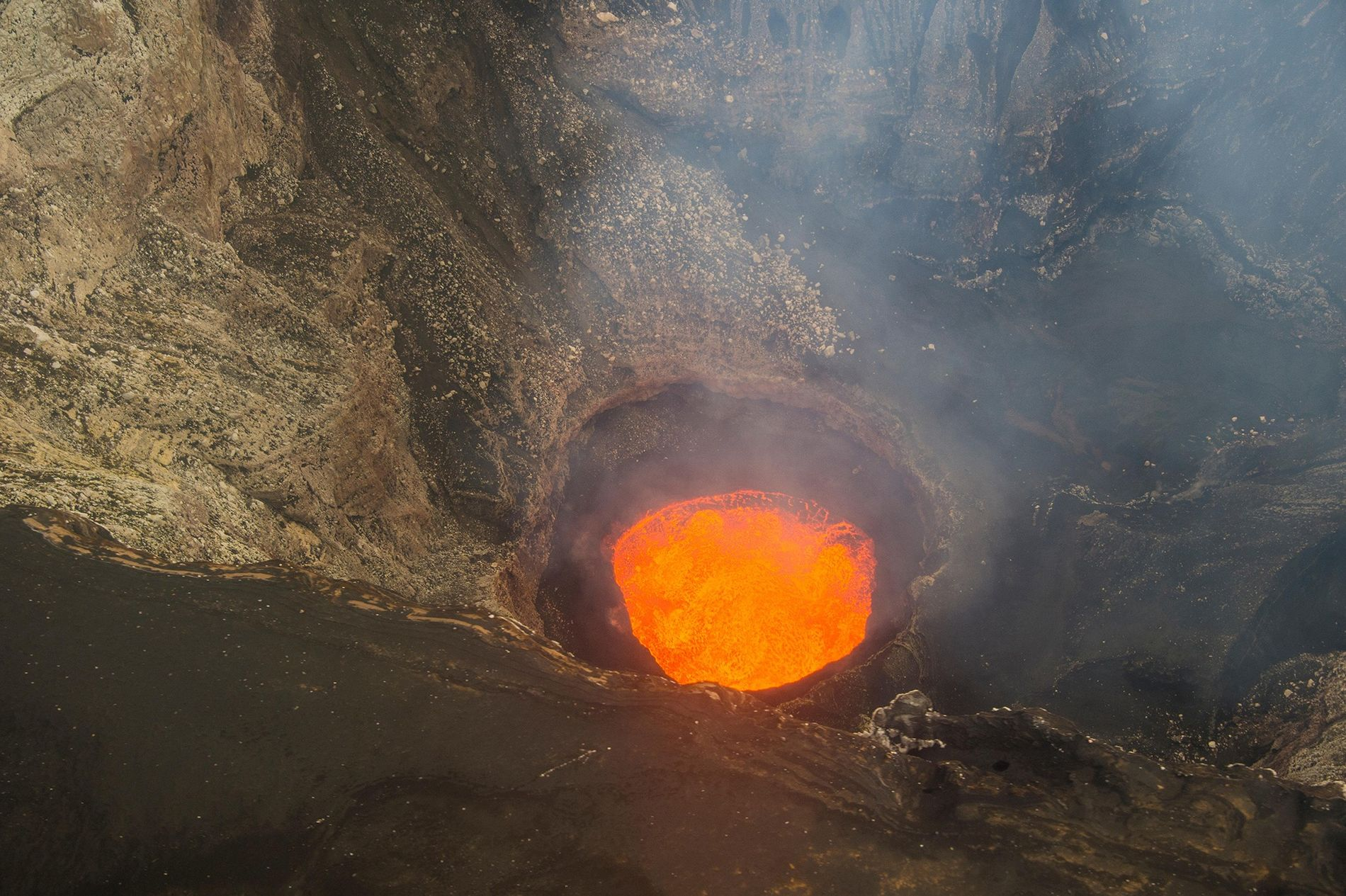 This is one of the five lava lakes that used to roil in the caldera of ...