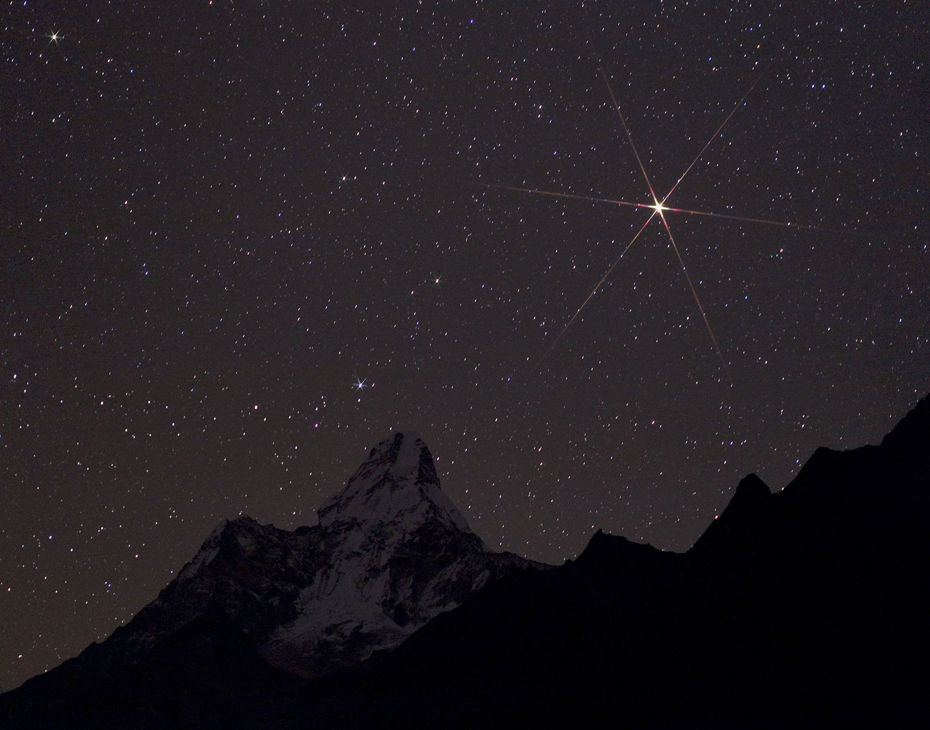 Brilliant Mars rises over Sagarmatha National Park in Nepal.