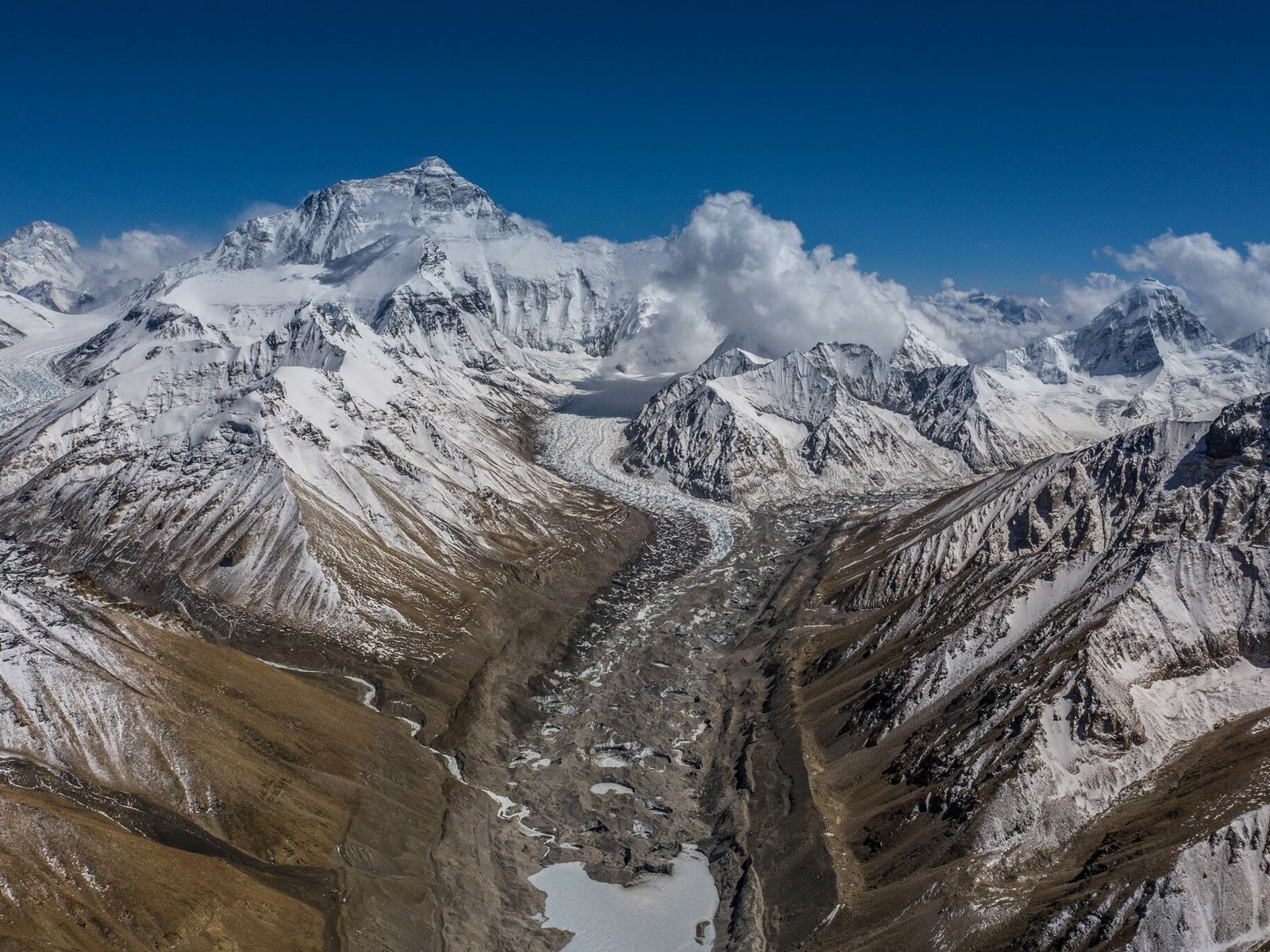 A view from Everest North Base Camp shows the Rongbuk glaciers and the approach toward the ...