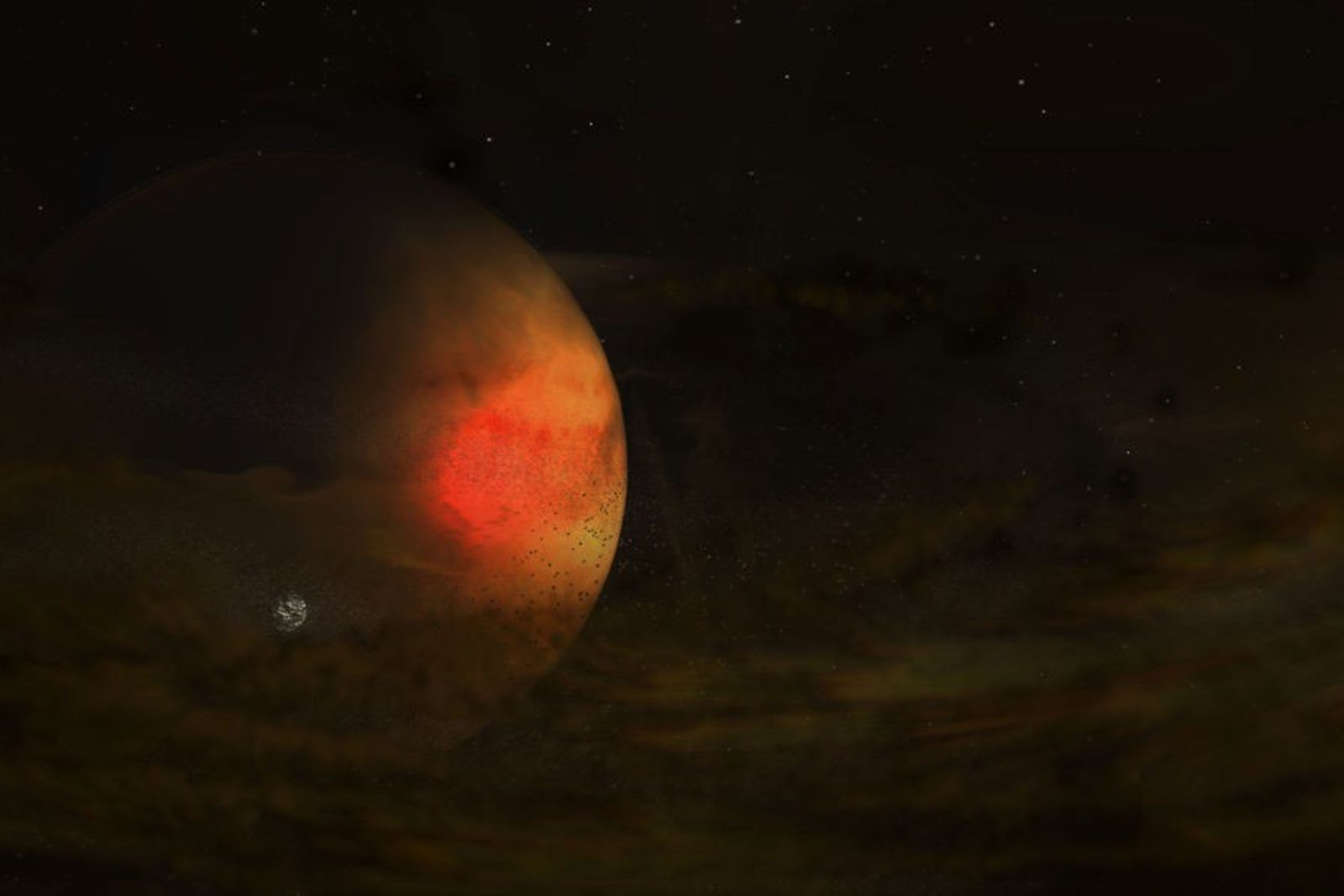 A faint disc of dust surrounds a large planet, possibly giving rise to a new moon, ...