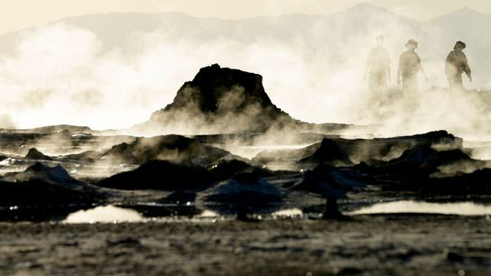Steam rises from geothermal mud pots near the banks of the Salton Sea in California in ...